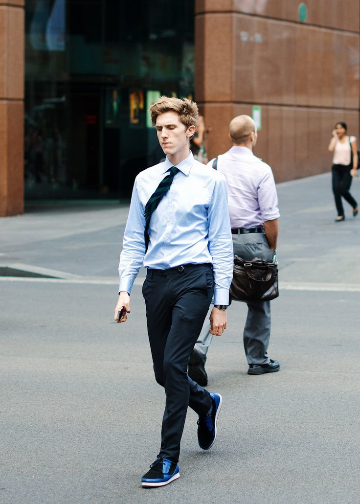 f35a51599ce6 Men's Navy and Green Vertical Striped Tie, Black and Blue Suede Low Top  Sneakers, Navy Dress Pants, Light Blue Dress Shirt | Men's Fashion |  Lookastic UK