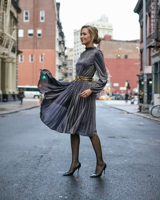 How to wear: black tights, black and gold leather waist belt, black leather pumps, charcoal pleated midi dress