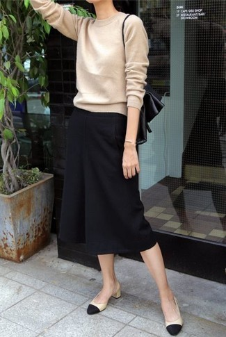 How to wear: black and tan leather pumps, black culottes, tan crew-neck sweater