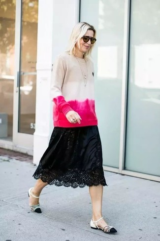 How to wear: brown sunglasses, black and white leather ballerina shoes, black lace midi skirt, beige tie-dye crew-neck sweater