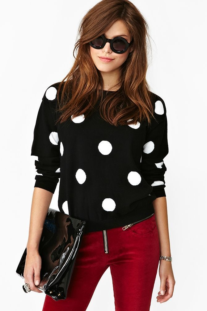 Womens Black And White Polka Dot Crew Neck Sweater Burgundy Skinny
