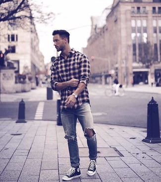 How to Wear a Black Plaid Long Sleeve Shirt For Men: To create a laid-back look with a city style twist, consider wearing a black plaid long sleeve shirt and grey ripped jeans. When in doubt as to what to wear when it comes to footwear, go with a pair of black and white canvas high top sneakers.