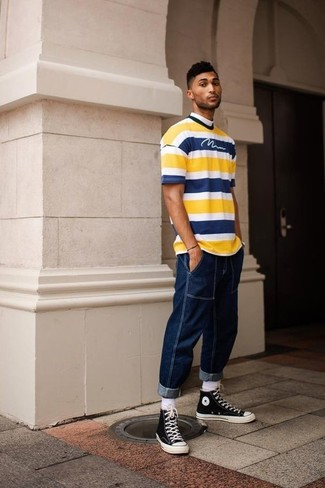 How to wear: white socks, black and white canvas high top sneakers, navy jeans, yellow horizontal striped crew-neck t-shirt