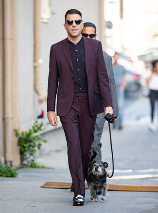 How to wear: black sunglasses, black and white leather loafers, dark purple plaid dress shirt, dark purple suit