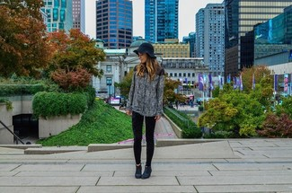 Women's Black and White Print Long Sleeve Blouse, Black Velvet Leggings, Black Nubuck Ankle Boots, Black Wool Hat