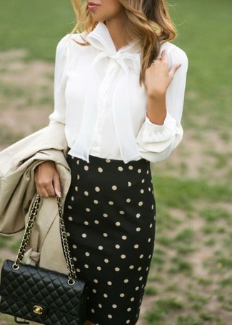 How to wear: black quilted leather crossbody bag, black and white polka dot pencil skirt, white button down blouse, beige trenchcoat
