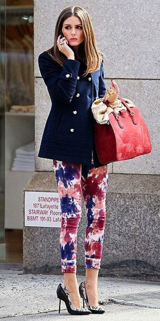 How to wear: red leather tote bag, black and white print leather pumps, multi colored tie-dye skinny jeans, navy pea coat
