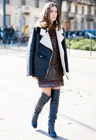 How to wear: black and white shearling jacket, burgundy shift dress, black leather over the knee boots
