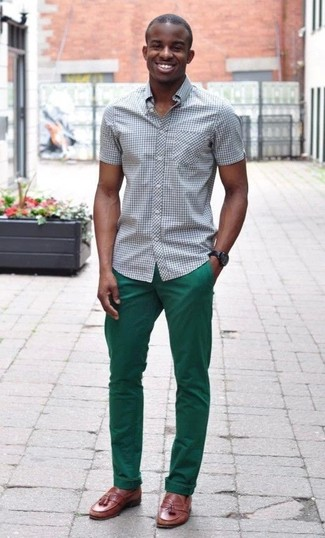 How to wear: black and white gingham short sleeve shirt, green chinos, brown leather tassel loafers, dark brown leather watch