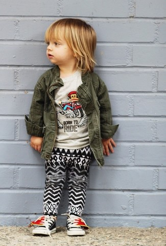 How to Wear Black Sneakers For Boys: An olive jacket and black and white sweatpants are a nice outfit for your child to wear when you go on walks. As far as footwear is concerned, let your child opt for a pair of black sneakers.