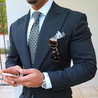 How to wear: black and white check pocket square, black and white print tie, white dress shirt, navy blazer