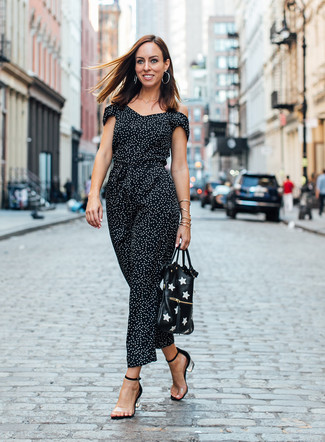 How to wear: silver earrings, black and white print leather tote bag, clear rubber heeled sandals, black and white polka dot jumpsuit