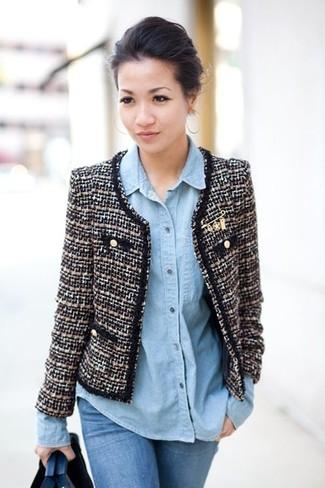 How to wear: black and white tweed jacket, light blue denim shirt, blue skinny jeans
