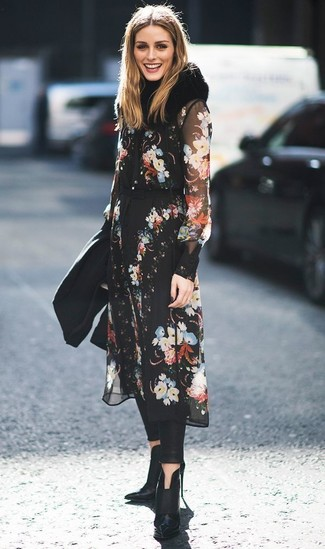 How to wear: black fur scarf, black leather ankle boots, black leather leggings, black floral chiffon midi dress