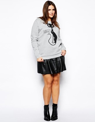How to wear: black socks, black leather ankle boots, black leather skater skirt, grey print sweatshirt