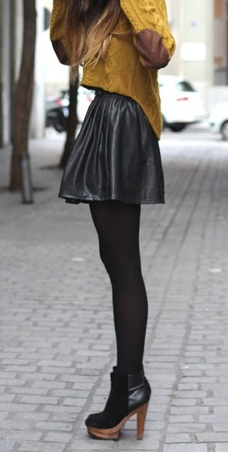 How to wear: black tights, black suede ankle boots, black leather skater skirt, mustard cable sweater