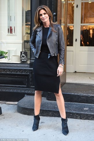 How to wear: black leather waist belt, black velvet ankle boots, black sweater dress, black leather biker jacket