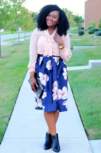 How to wear: black leather clutch, black leather ankle boots, blue floral full skirt, pink silk long sleeve blouse