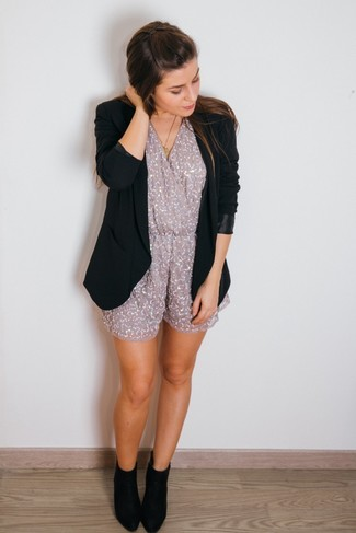 How to wear: gold pendant, black suede ankle boots, grey sequin playsuit, black blazer