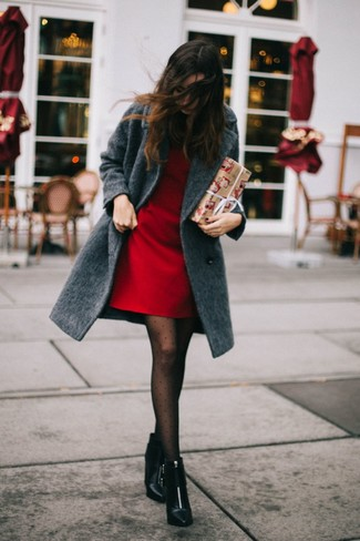 How to wear: black polka dot tights, black leather ankle boots, red shift dress, charcoal coat
