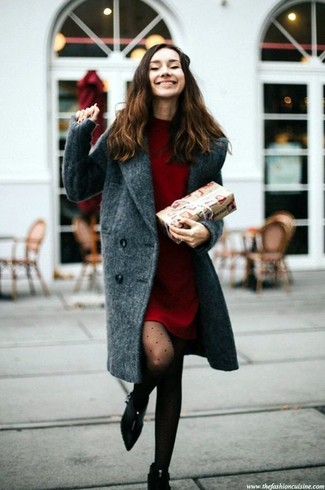 How to wear: black polka dot tights, black suede ankle boots, red sweater dress, charcoal coat