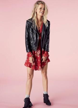 How to wear: grey socks, black suede ankle boots, red floral swing dress, black leather biker jacket