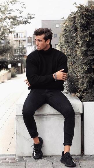 How to wear: silver bracelet, black athletic shoes, black skinny jeans, black turtleneck