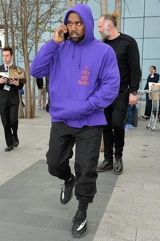 How to wear: black socks, black athletic shoes, black sweatpants, violet hoodie