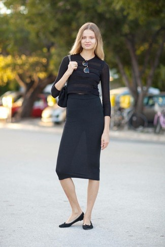 How to wear: black suede satchel bag, black suede ballerina shoes, black midi skirt, black cropped sweater