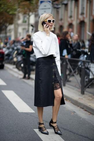 How to wear: black and white sunglasses, black leather ballerina shoes, black midi skirt, white sweatshirt