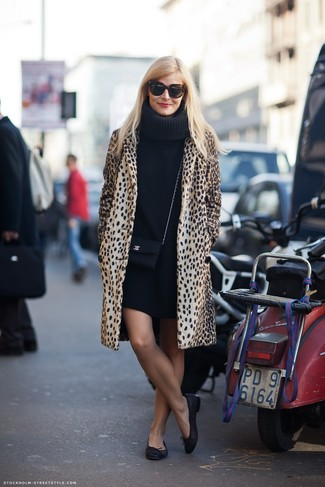 How to wear: black leather crossbody bag, black leather ballerina shoes, black sweater dress, camel leopard coat