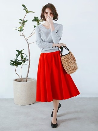How to wear: tan straw tote bag, black leather ballerina shoes, red full skirt, grey v-neck sweater