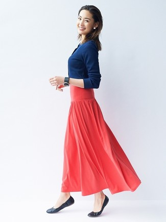 How to wear: black leather bracelet, black leather ballerina shoes, red pleated maxi skirt, navy cardigan
