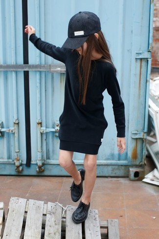 How to wear: black baseball cap, black oxford shoes, black dress