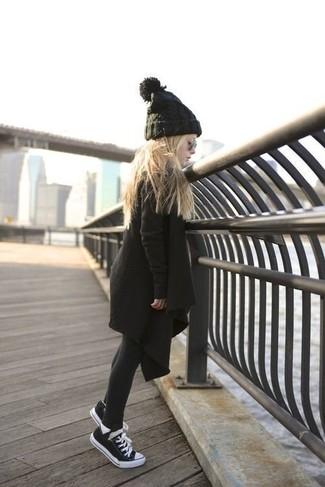 How to wear: black tights, black beanie, black sneakers, black coat