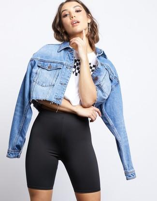 How to wear: black bike shorts, white and black print crew-neck t-shirt, light blue denim jacket