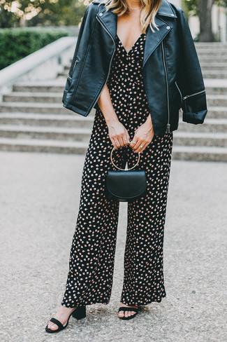 How to wear: black leather biker jacket, black floral jumpsuit, black suede heeled sandals, black leather clutch