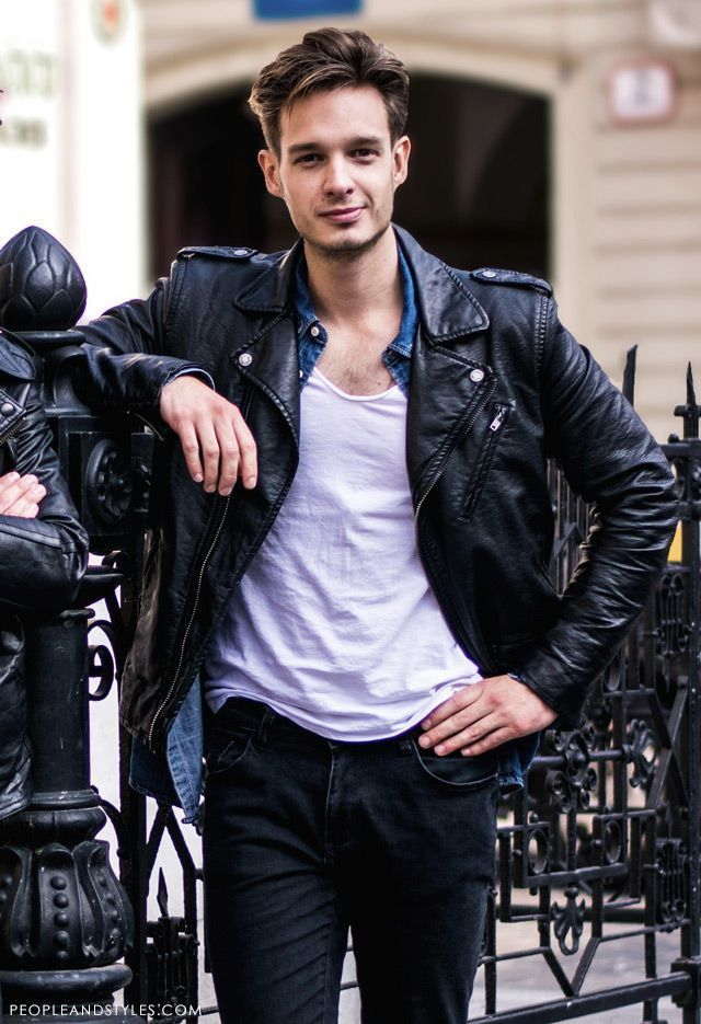 Black Leather Biker Jacket   Men's Fashion