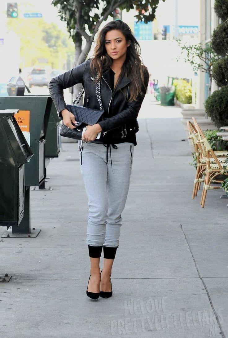 Shay Mitchell Wearing Black Leather Biker Jacket Grey Sweatpants