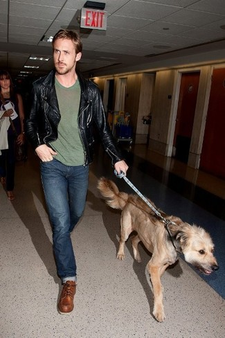 Ryan Gosling wearing Black Leather Biker Jacket, Olive Crew-neck T-shirt, Navy Jeans, Brown Leather Work Boots