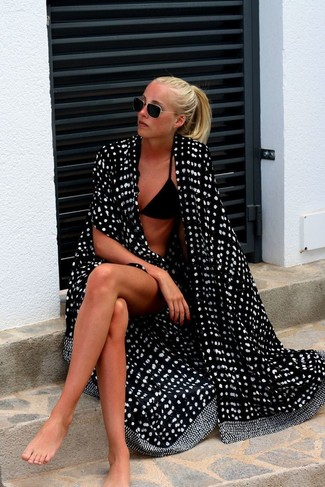 How to wear: black bikini pant, black bikini top, black and white polka dot cover-up