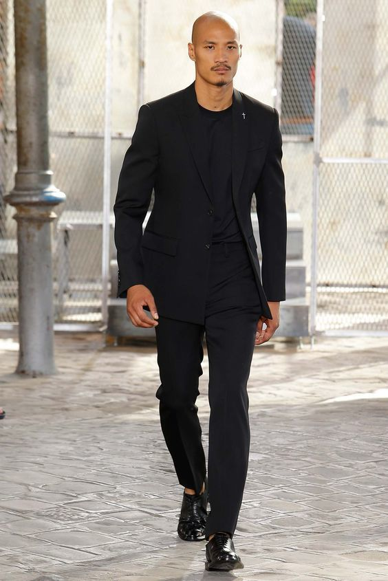 How To Wear a Black Blazer With a Black Crew-neck T-shirt | Men's ...