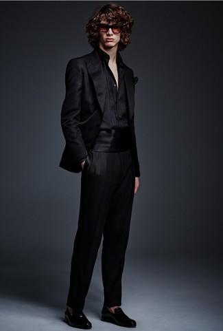 How To Wear a Black Blazer With a Black Dress Shirt | Men's Fashion