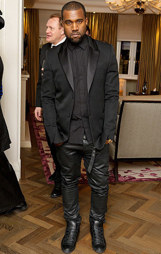 Kanye West wearing Black Silk Blazer, Black Dress Shirt, Black Leather Jeans, Black Leather High Top Sneakers