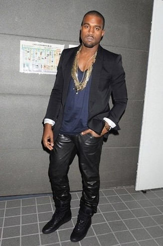 Kanye West wearing Black Blazer, Navy Tank, Black Leather Jeans, Black Leather High Top Sneakers