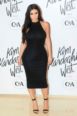 Kim Kardashian wearing Black Bodycon Dress, Black Leather Heeled Sandals