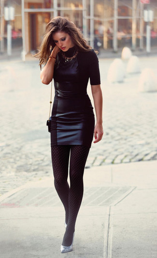 How to wear: black leather bodycon dress, silver leather pumps, black leather crossbody bag, black polka dot tights