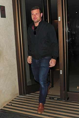 Dermot O'Leary wearing Black Bomber Jacket, Black Crew-neck T-shirt, Navy Jeans, Tan Leather Oxford Shoes