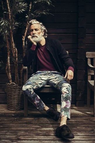 Aiden Shaw wearing Black Suede Bomber Jacket, Burgundy Crew-neck Sweater, Black Floral Chinos, Black Suede Derby Shoes