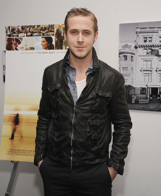 Ryan Gosling wearing Black Leather Bomber Jacket, Grey Chambray Long Sleeve Shirt, White Tank, Black Chinos